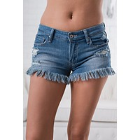 Breaking Hearts Frayed Shorts (Medium Wash)