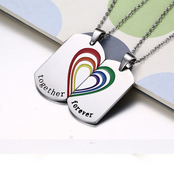 FUNIQUE Fashion Lettering Carving Together Forever Pendant For Women Titanium Steel Splicing Heart Gifts To Lovers Make Necklace