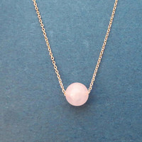 Rose quartz, Ball, Gold, Silver, Rose gold, Necklace, Birthday, Best friends, Mom, Sister, Gift, Jewelry