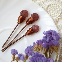 Purple Glass Leaf bobby pins Set of 3
