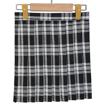 Lady Girls Plaid Pleated Mini Skirt Uniform Cosplay Japanese School Skirts S-XL SM6