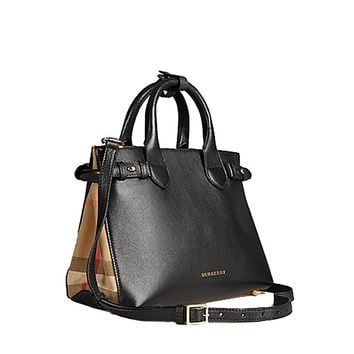 Tote Bag Handbag Burberrry The Small Banner in Leather and House Check Black Item 39627461 Made in Italy