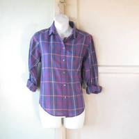 Blue/Purple Plaid '70s-'80s Long-Sleeve Shirt; Women's Small-Medium Cotton Blend Small Collar Shirt; U.S. Shipping Included