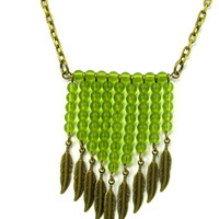 Beautiful Chevron with Green Glass Beads and Feathers in Antique Brass