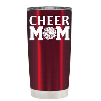 Cheer Mom Pom Pom on Translucent Red 20 oz Tumbler Cup