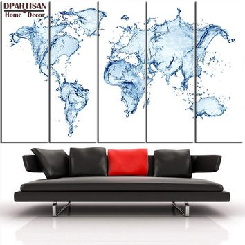 "Canvas Wall Art: 5-Panel ""Water Splash Continents"" World Map Canvas Print"