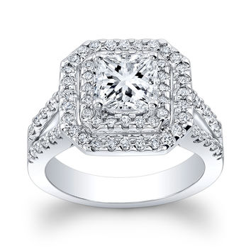 Ladies 18kt pave diamond double halo engagement ring w/1ct natural Princess Cut white sapphire with 0.75 ctw G-VS2 diamonds