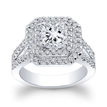 Ladies Platinum pave diamond double halo engagement ring w/1ct natural Princess Cut white sapphire with 0.75 ctw G-VS2 diamonds