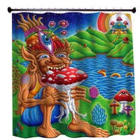 """Muncher of Mushroomland"" Shower Curtain"