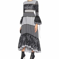 Adrianne check and lace dress