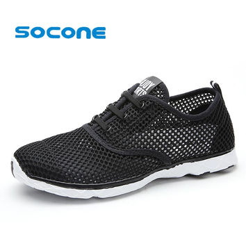 Socone Plus Size Men Summer Running Shoes Women Sneakers 2017 Mesh Breathable Sport Shoes Men Beach Water Shoes WomensTrainers