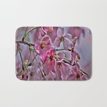 Pink Blossoms - paint rendition Bath Mat by Scott Hervieux