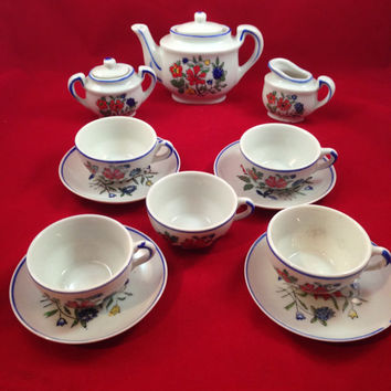 Miniature Porcelain Tea Set 14 Piece Set Including Lid, Made in Japan