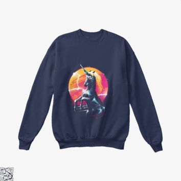 Rad Unicorn, Horse Crew Neck Sweatshirt