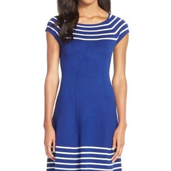 Eliza J Stripe Knit Flared Dress | Nordstrom