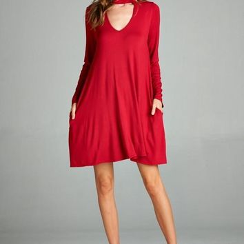 Loose Fit Long Sleeve Open V Neck Swing Dress