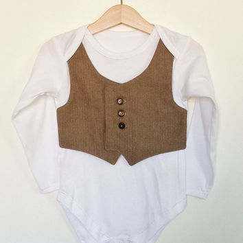 18-24 mths toddler waistcoat Onesuit/baby vest, light brown herringbone, toddler wedding outfit, toddler suit, smart formal toddler