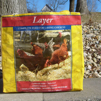 Recycled Feed Sack Chicken Food Barred Rock Rhode Island Red Reusable Market Bag Tote Purse