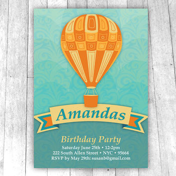 Hot Air Balloon Invitation, turquoise yellow and orange, printable custom designed party invite for birthday or baby shower, gender neutral