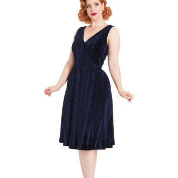 Copy of Irene Velvet Navy Midi Dress