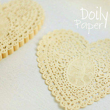 20 Lovely Cupid Heart Paper Doilies - Yellow (5.7 x 5.7in)