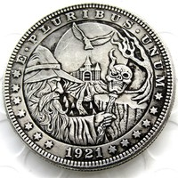 RARE Hobo Nickel 1921 Morgan Dollar In Wizard Merlin Coin HandMade Skull