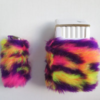 SALE Fuzzy Cigarette Case Bic Lighter Cover. Rainbow. 90s Acid Club.Faux Fur