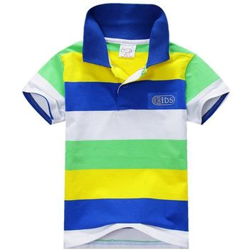 2017 New Style New Summer 1-7Y Baby Children Boys Striped T-shirts Kids Tops Tee Polo