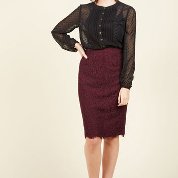 Flirt Around the Issue Pencil Skirt in Merlot | Mod Retro Vintage Skirts | ModCloth.com
