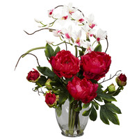 Nearly Natural Peony and Orchid Silk Flower Arrangement in Red