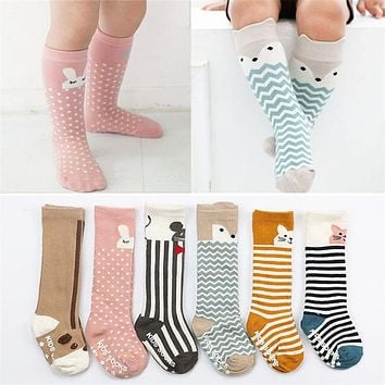 BalleenShiny Baby Socks Newborn Kids Girl Boy Animal Pattern Anti-slip Knee High Sock Fox Cat Cotton Cute Cartoon Infant Toddler