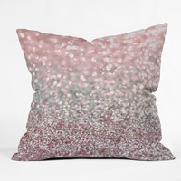 Lisa Argyropoulos Girly Pink Snowfall Throw Pillow