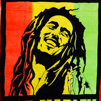 Bob Marley One Love Indian Wall Art Tapestry, Bohemian Indian Tapestry Bedding, Hippie Bedspread, Beach Blanket, Wall Art, Room Decor