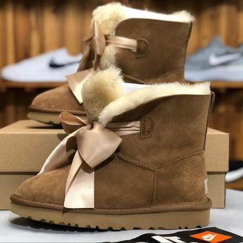 SPBEST UGG winter new lady snow boots classic novelty series bow mini boots 1098360 khaki