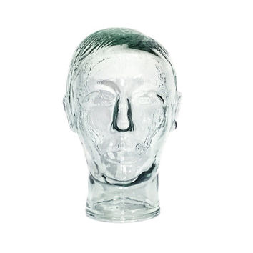Vintage Glass Mannequin Head / Striking and Unique Pop Art Hat Display / Sci Fi Home Accent