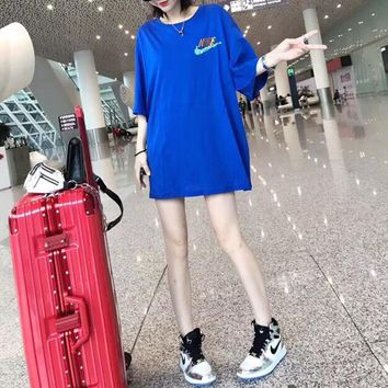 """Nike"" Women Casual Fashion Multicolor Sequin Letter Short Sleeve T-shirt Mini Dress"