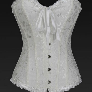 Sexy Corselet Women Bustiers TOP ,Satin Embroidered waist training Overbust Corsets Plus size S-6XL = 1958249476