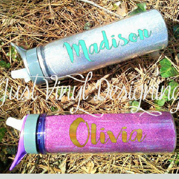 Glitter Water Bottle, Custom Bottle, Monogram Cup, Personalized Bottle