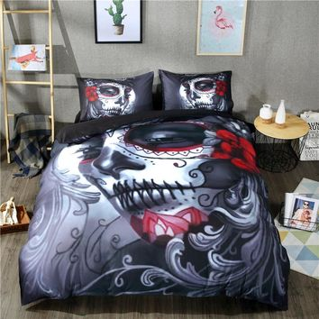 Halloween Gift 3D Printed zombie skull Bedding set 3/4pcs Duvet Cover set Bedsheet Pillowcases Twin Queen King Size bed linen