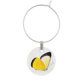 Yellow Vintage Butterfly Wine Charm