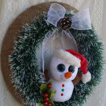 Country Snowman Christmas Wreath, Winter snowman Wreath, Affordable Christmas & Winter Decor, Country Holiday Gift, Christmas Gift