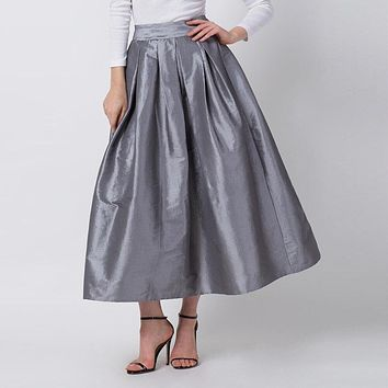 Simple color high waist long pleated skirt women Holiday beach slim fit summer skirt Office Lady loose casual skirt female 2019