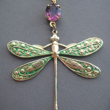 Dragonfly Necklace - Dragonfly Jewelry - Dragonfly Pendant - Emerald Necklace - Green Jewelry - Summer Jewelry - Dragonflies - Whimsical