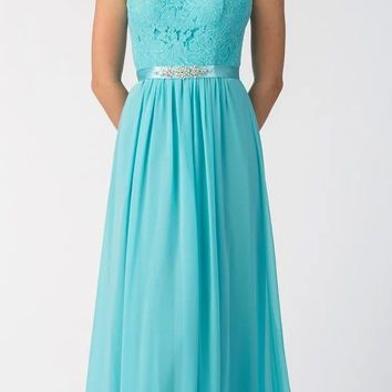 Starbox USA L6145 Lace Sweetheart Neckline Mint Chiffon A-Line Bridesmaids Gown Strapless