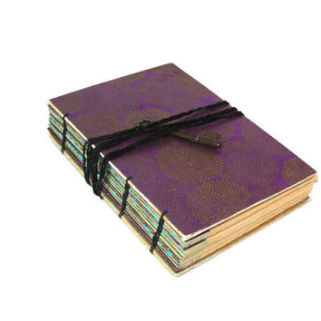 Handmade Vintage Purple and Gold Journal with Skeleton Key