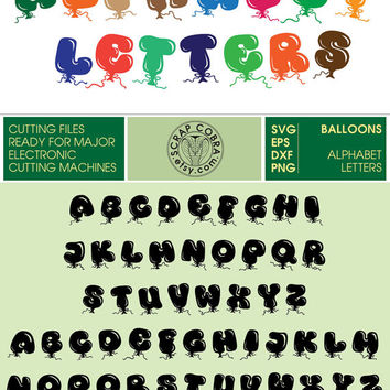 Festive Balloons Alphabet Letters (SVG, eps, dxf, png) Cut Files for Silhouette Studio, Cricuit, cutting machine, Party Supplies CV-463