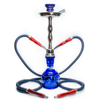 Large Hookah for Shisha with Carrying Case - 2 hoses - 19 inches - Red, Green or Blue