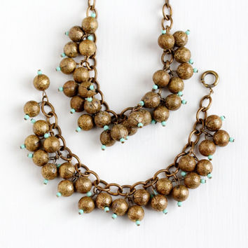 Vintage Art Deco Brass Matching Bib Necklace & Bracelet Set - 1930s Round Ball Drop Charms Teal Glass Beads Boho Unique Statement Jewelry