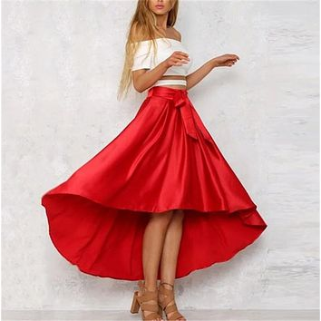 Vintage Elegant Women A Line Slip Satin Sashes Solid High Waist Skirt Skater Flared Swing Irregular Long Skirts 2017