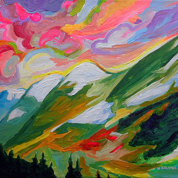 ORIGINAL Acrylic Painting - Coquihalla Sunrise - 11x14 colorful Clouds, Sky and Mountain Art